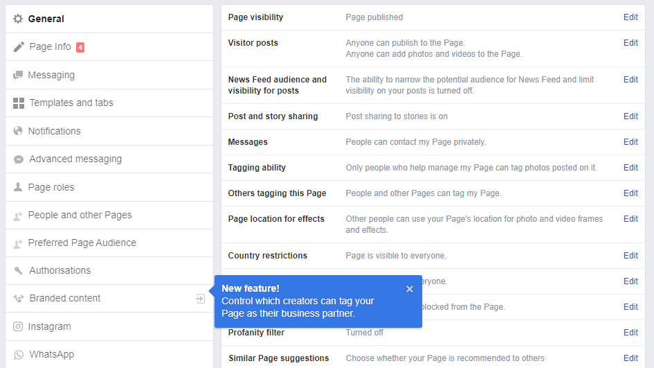 facebook business page editing field