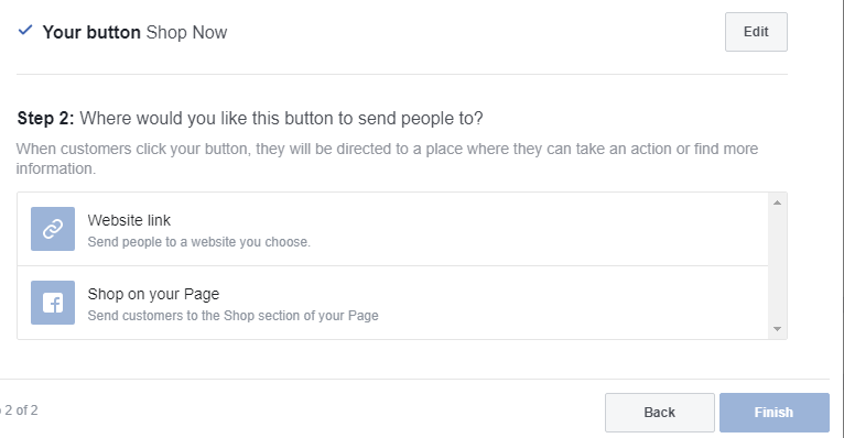shop now button for your facebook business page